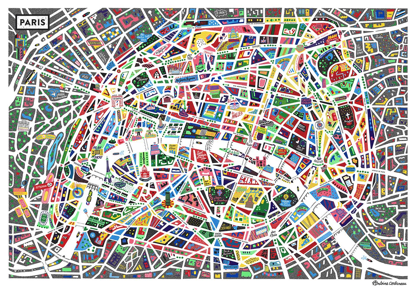Neon Map Of Paris